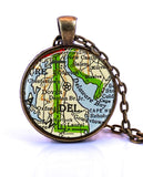 Delaware Map Pendant Necklace - created from a 1958 map.-Small Pendant-Paper Towns Vintage