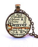 Denver, Colorado Map Pendant Necklace - created from a 1937 map.-Small Pendant-Paper Towns Vintage