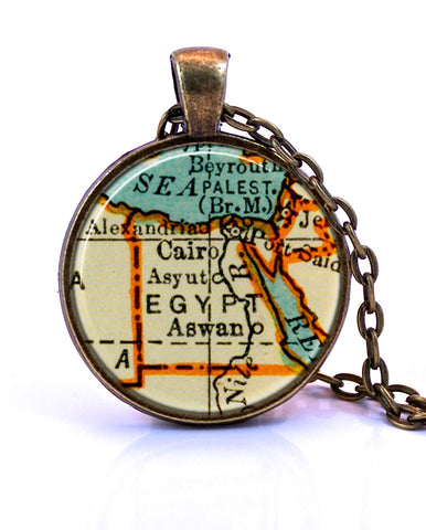 Egypt Map Pendant Necklace - created from a 1937 map.-Small Pendant-Paper Towns Vintage