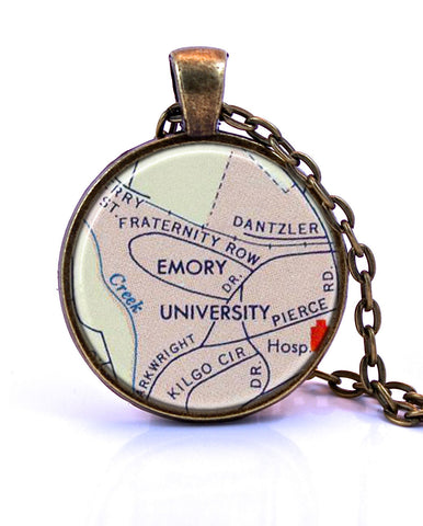 Emory University, Georgia Map Pendant Necklace - created from a 1956 map.-Small Pendant-Paper Towns Vintage