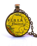Edmonton, Alberta Map Pendant Necklace - created from a 1943 map.-Small Pendant-Paper Towns Vintage