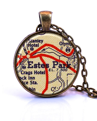 Estes Park, Colorado Map Pendant Necklace - created from a 1956 map.-Small Pendant-Paper Towns Vintage