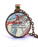 Fenway Park, Boston, Massachusetts Map Pendant Necklace - created from a 1956 map.-Small Pendant-Paper Towns Vintage