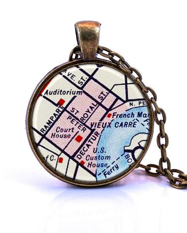 French Quarter, New Orleans, Louisiana Map Pendant Necklace - created from a 1956 map.-Small Pendant-Paper Towns Vintage