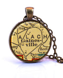 Gainesville, Florida Map Pendant Necklace - created from a 1937 map.-Small Pendant-Paper Towns Vintage