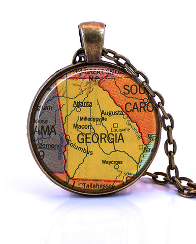 Georgia Map Pendant Necklace - created from a 1953 map.-Small Pendant-Paper Towns Vintage