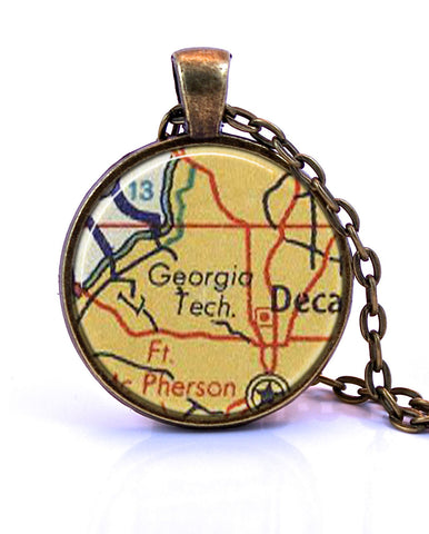 Georgia Tech Map Pendant Necklace - created from a 1956 map.-Small Pendant-Paper Towns Vintage