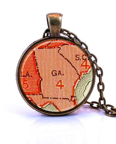 Georgia Map Pendant Necklace - created from an 1883 map.-Small Pendant-Paper Towns Vintage
