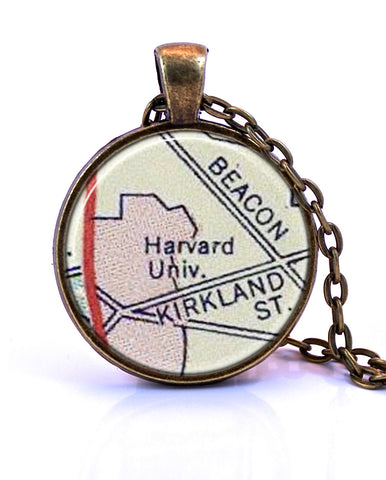 Harvard University, Massachusetts Map Pendant Necklace - created from a 1956 map.-Small Pendant-Paper Towns Vintage