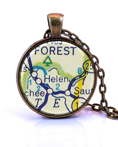 Helen, Georgia Map Pendant Necklace - created from a 1956 map.-Small Pendant-Paper Towns Vintage