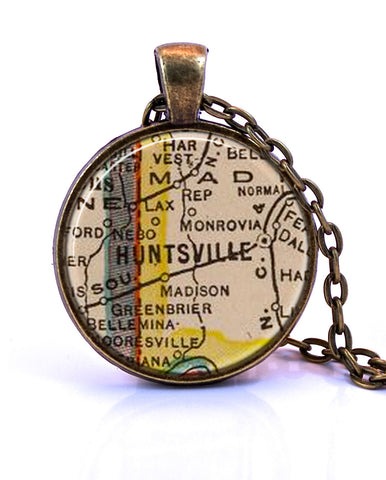 Huntsville, Alabama Map Pendant Necklace - created from a 1927 map.-Small Pendant-Paper Towns Vintage