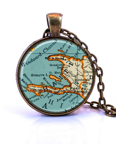 Haiti Map Pendant Necklace - created from a 1937 map.-Small Pendant-Paper Towns Vintage