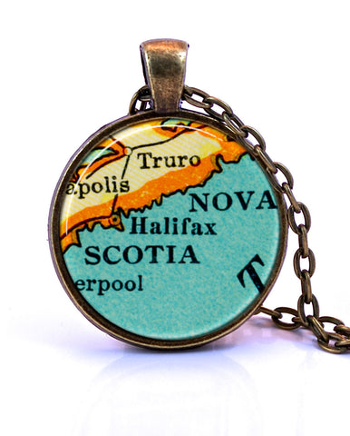 Halifax, Nova Scotia Map Pendant Necklace - created from a 1937 map.-Small Pendant-Paper Towns Vintage