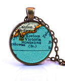 Hong Kong Map Pendant Necklace - created from a 1937 map.-Small Pendant-Paper Towns Vintage