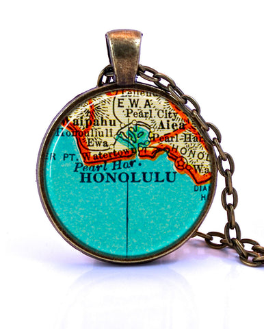 Honolulu, Hawaii Map Pendant Necklace - created from a 1937 map.-Small Pendant-Paper Towns Vintage