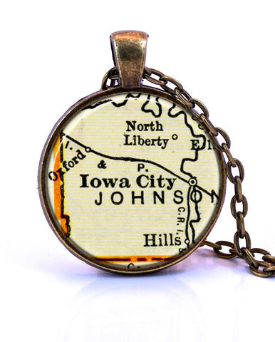 Iowa City, Iowa Map Pendant Necklace - created from a 1937 map.-Small Pendant-Paper Towns Vintage