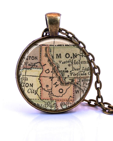 Idaho Map Pendant Necklace - created from an 1880 map.-Small Pendant-Paper Towns Vintage
