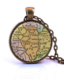 Illinois Map Pendant Necklace - created from a 1934 map.-Small Pendant-Paper Towns Vintage