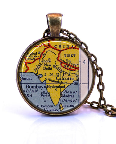 India Map Pendant Necklace - created from a 1943 map.-Small Pendant-Paper Towns Vintage