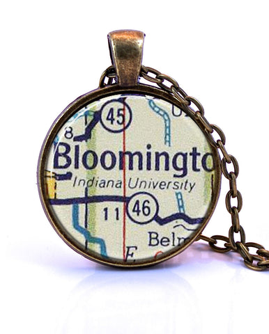 Indiana University, Bloomington Map Pendant Necklace - created from a 1956 map.-Small Pendant-Paper Towns Vintage