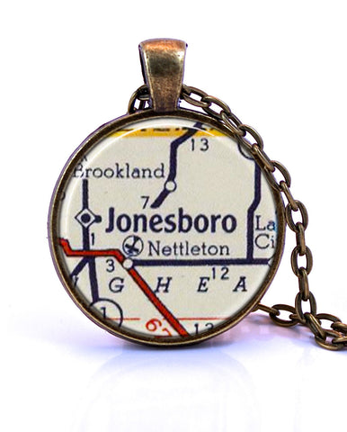 Jonesboro, Arkansas Map Pendant Necklace - created from a 1956 map.-Small Pendant-Paper Towns Vintage