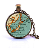 Japan Map Pendant Necklace - created from a 1937 map.-Small Pendant-Paper Towns Vintage