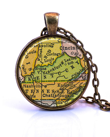 Kentucky Map Pendant Necklace - created from a 1934 map.-Small Pendant-Paper Towns Vintage