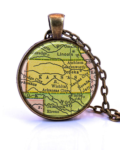 Kansas Map Pendant Necklace - created from a 1934 map.-Small Pendant-Paper Towns Vintage