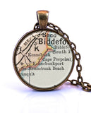 Kennebunkport, Maine Map Pendant Necklace - created from an 1891 map.-Small Pendant-Paper Towns Vintage