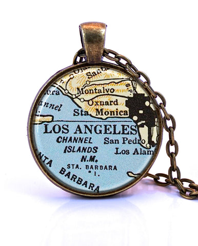 Los Angeles, California Map Pendant Necklace - created from a 1958 map.-Small Pendant-Paper Towns Vintage