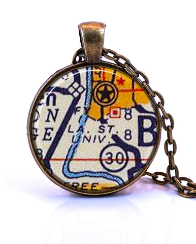 Louisiana State University (LSU), Louisiana Map Pendant Necklace - created from a 1956 map.-Small Pendant-Paper Towns Vintage