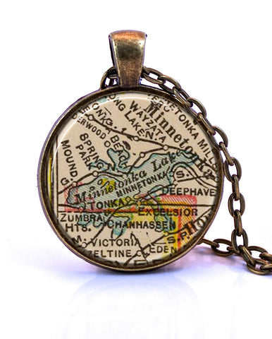 Lake Minnetonka, Minnesota Map Pendant Necklace - created from a 1937 map.-Small Pendant-Paper Towns Vintage