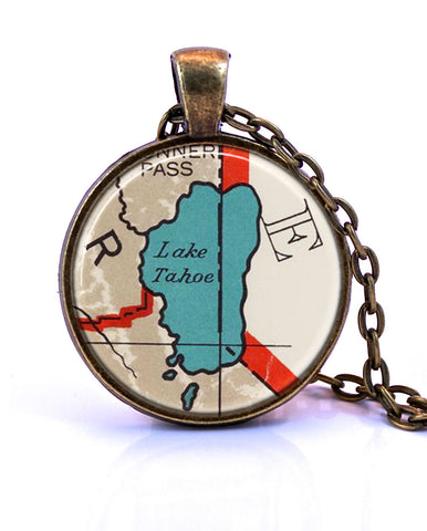Lake Tahoe, California Map Pendant Necklace - created from a 1937 map.-Small Pendant-Paper Towns Vintage