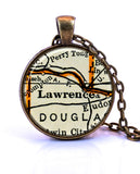 Lawrence, Kansas Map Pendant Necklace - created from a 1937 map.-Small Pendant-Paper Towns Vintage