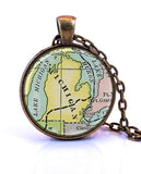 Michigan Map Pendant Necklace - created from a 1920 map.-Small Pendant-Paper Towns Vintage