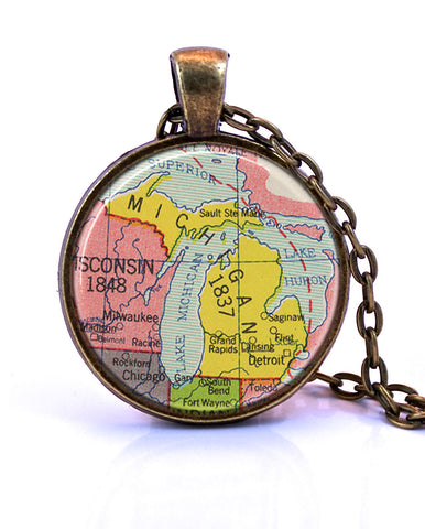 Michigan Map Pendant Necklace - created from a 1953 map.-Small Pendant-Paper Towns Vintage