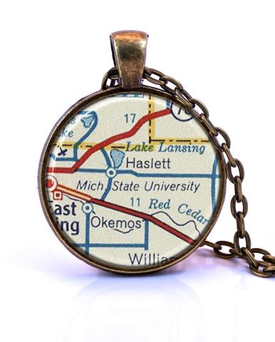 Michigan State University, Michigan Map Pendant Necklace - created from a 1956 map.-Small Pendant-Paper Towns Vintage