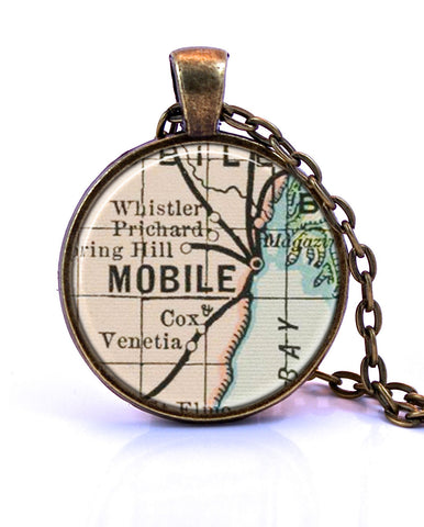 Mobile, Alabama Map Pendant Necklace - created from an 1891 map.-Small Pendant-Paper Towns Vintage