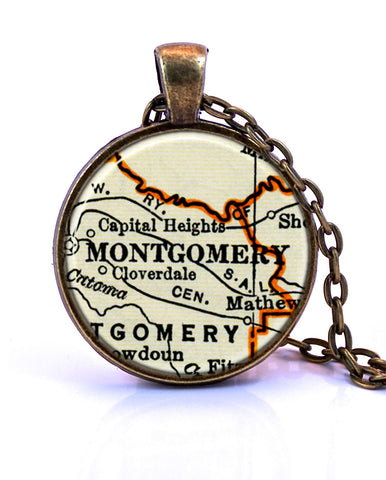 Montgomery, Alabama Map Pendant Necklace - created from a 1937 map.-Small Pendant-Paper Towns Vintage