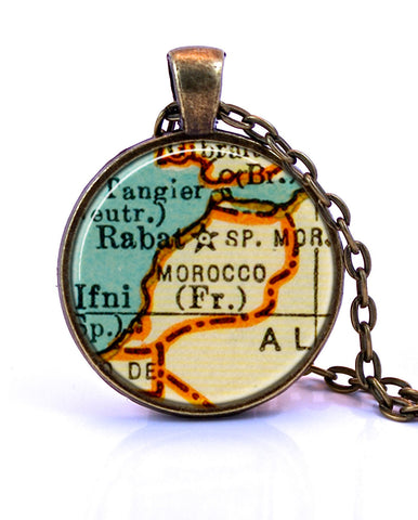 Morocco Map Pendant Necklace - created from a 1937 map.-Small Pendant-Paper Towns Vintage