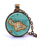 Maui, Hawaii Map Pendant Necklace - created from a 1937 map.-Small Pendant-Paper Towns Vintage