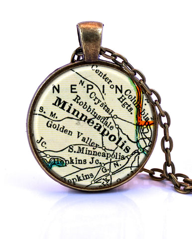 Minneapolis, Minnesota Map Pendant Necklace - created from a 1937 map.-Small Pendant-Paper Towns Vintage