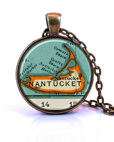Nantucket, Massachusetts Map Pendant Necklace - created from a 1937 map.-Small Pendant-Paper Towns Vintage