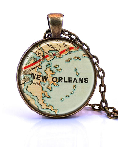 New Orleans, Louisiana Map Pendant Necklace - created from an 1880 map.-Small Pendant-Paper Towns Vintage
