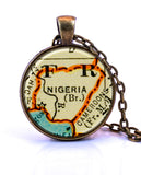 Nigeria Map Pendant Necklace - created from a 1937 map.-Small Pendant-Paper Towns Vintage