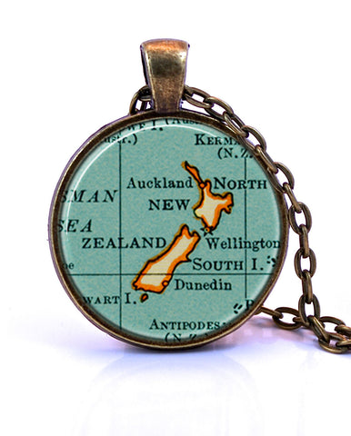 New Zealand Map Pendant Necklace - created from a 1937 map.-Small Pendant-Paper Towns Vintage