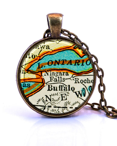 Niagara Falls, Lake Ontario, New York Map Pendant Necklace - created from a 1937 map.-Small Pendant-Paper Towns Vintage