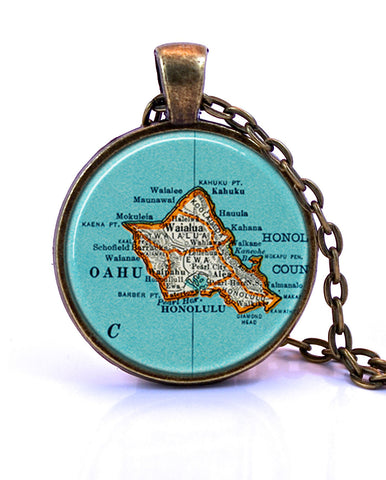 Oahu, Hawaii Map Pendant Necklace - created from a 1937 map.-Small Pendant-Paper Towns Vintage