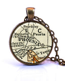 Phoenix, Arizona Map Pendant Necklace - created from a 1937 map.-Small Pendant-Paper Towns Vintage