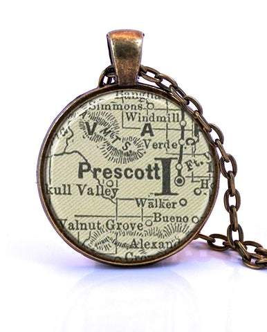 Prescott, Arizona Map Pendant Necklace - created from an 1891 map.-Small Pendant-Paper Towns Vintage